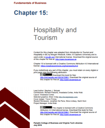 Picture of Chapter 15 Hospitality and Tourism
