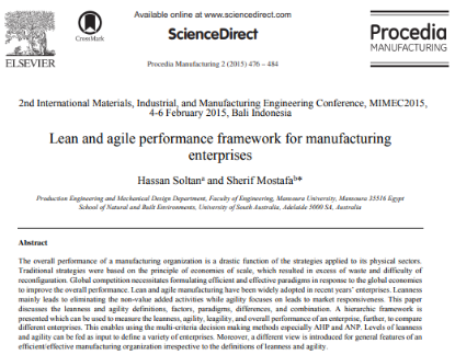 Picture of Lean and agile performance framework for manufacturing enterprises