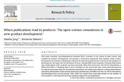 Picture of When publications lead to products: The open science conundrum in new product development
