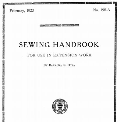 Picture of SEWING HANDBOOK FOR USE IN EXTENSION \\lORK