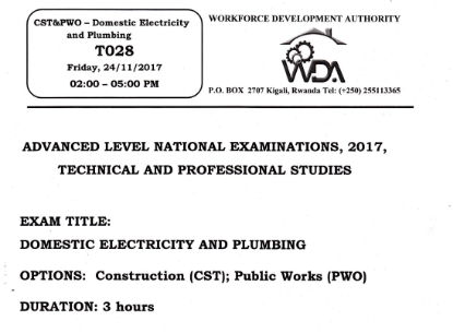 Picture of Domestic Electricity and plumbing 2017 Past Papers - CST. PWO