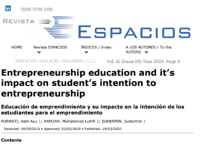 Picture of Entrepreneurship education and it's impact on student's intention to entrepreneurship