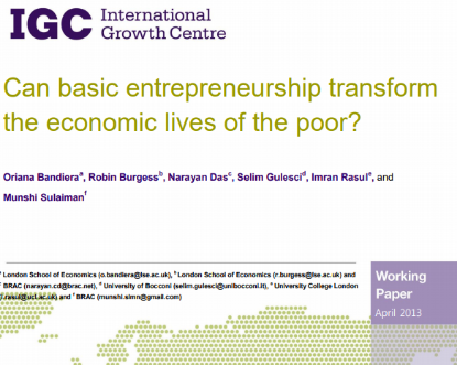 Picture of Can basic entrepreneurship transform the economic lives of the poor?