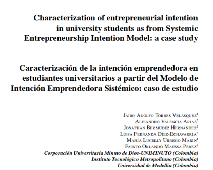 Picture of Characterization of entrepreneurial intention in university students as from Systemic Entrepreneurship Intention Model