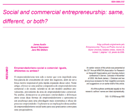 Picture of Social and commercial entrepreneurship: same, different, or both?
