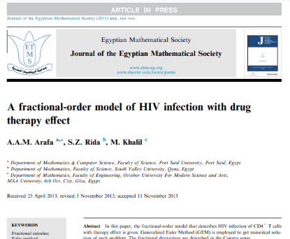 Picture of A fractional-order model of HIV infection with drug therapy effect