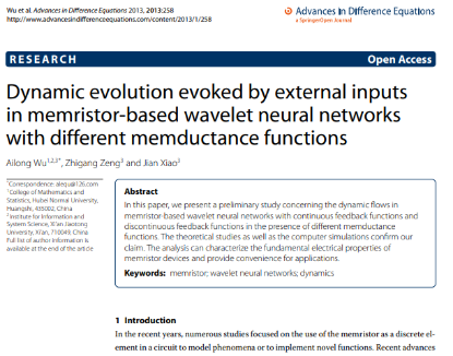 Picture of Dynamic evolution evoked by external inputs in memristor-based wavelet neural networks with different memductance functions