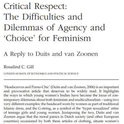 Picture of Critical Respect: The Difficulties and Dilemmas of Agency and 'Choice' for Feminism