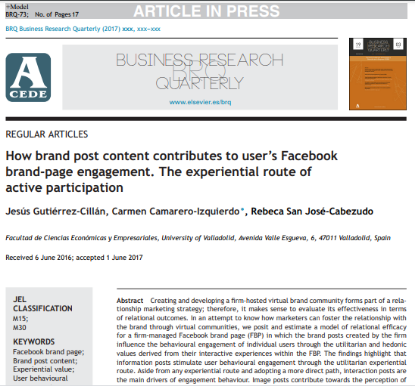 Picture of How brand post content contributes to user's Facebook brand-page engagement.