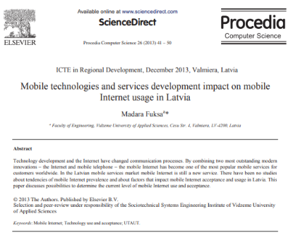 Picture of Mobile technologies and services development impact on mobile Internet usage in Latvia