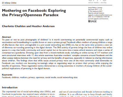 Picture of Mothering on Facebook: Exploring the Privacy/Openness Paradox