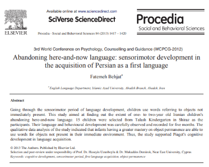 Picture of Abandoning here-and-now language: sensorimotor development in the acquisition of Persian as a first language