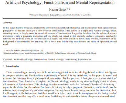 Picture of Artificial Psychology, Functionalism and Mental Representation