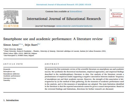 Picture of Smartphone use and academic performance