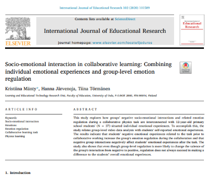 Picture of Socio-emotional interaction in collaborative learning: Combining individual emotional experiences and group-level emotion regulation