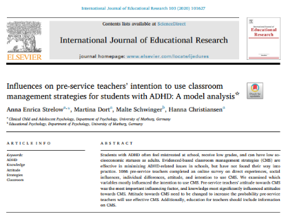 Picture of Influences on pre-service teachers' intention to use classroom management strategies for students with ADHD: A model analysis