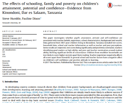 Picture of The effects of schooling, family and poverty on children's attainment, potential and confidence—Evidence from Kinondoni, Dar es Salaam, Tanzania