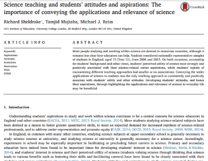 Picture of Science teaching and students' attitudes and aspirations: The importance of conveying the applications and relevance of science