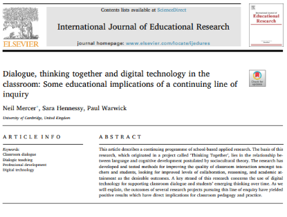 Picture of Dialogue, thinking together and digital technology in the classroom: Some educational implications of a continuing line of inquiry