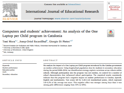 Picture of Computers and students' achievement: An analysis of the One Laptop per Child program in Catalonia