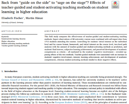 """Picture of Back from """"guide on the side"""" to """"sage on the stage""""? Effects of teacher-guided and student-activating teaching methods on student learning in higher education"""