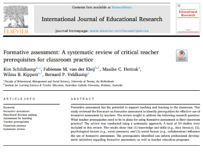 Picture of Formative assessment: A systematic review of critical teacher prerequisites for classroom practice