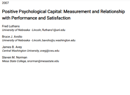 Picture of Positive Psychological Capital: Measurement and Relationship with Performance and Satisfaction